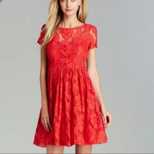 Plenty Tracy Reese 2 Red Floral Lace Dress